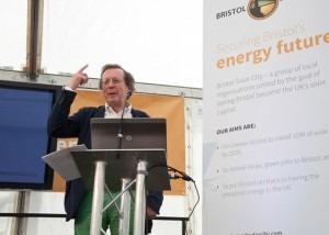 Mayor George Ferguson speaking at the launch of Bristol Solar City
