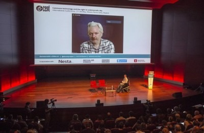 Julian Assange and Pablo Soto at Democratic Cities - Madrid